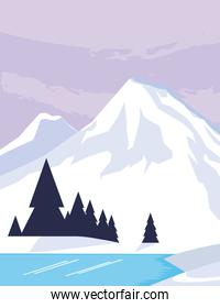 mountains with forest and river snowscape scene