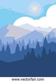mountains with forest snowscape scene
