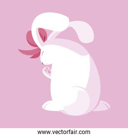 cute rabbit easter with bow character