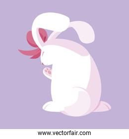 pretty rabbit easter with bow character