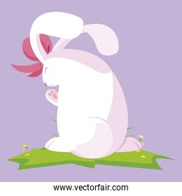 cute rabbit easter female with bow character