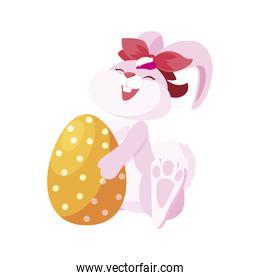 cute rabbit easter female with egg painted