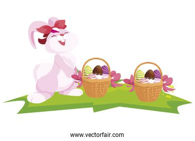 cute rabbit easter female with eggs painted in basket