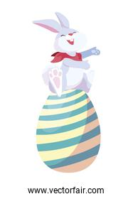 cute rabbit easter with egg painted