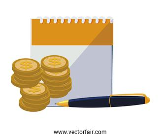calendar reminder with coins and pen