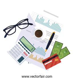 office supplies and financial documents