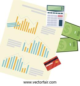 office supplies with calculator and set items