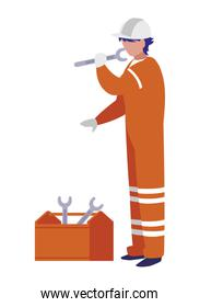 industrial worker with toolbox avatar character
