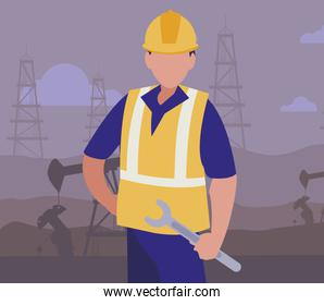 oil industry faceless  worker with laptop avatar character