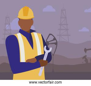 oil industry worker black avatar character