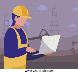 oil industry worker with laptop avatar character