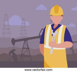 oil industry worker with tools avatar character