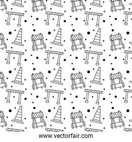 construction barricade fence and cones pattern