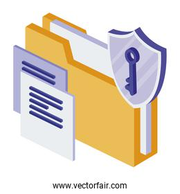 folder documents with shield