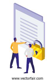 paper document with padlock