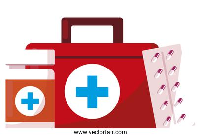 medical kit with medicine icons