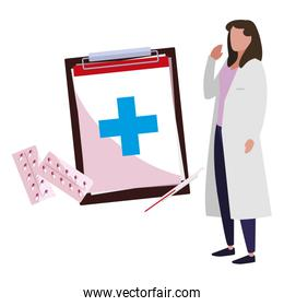 female doctor with medical icons
