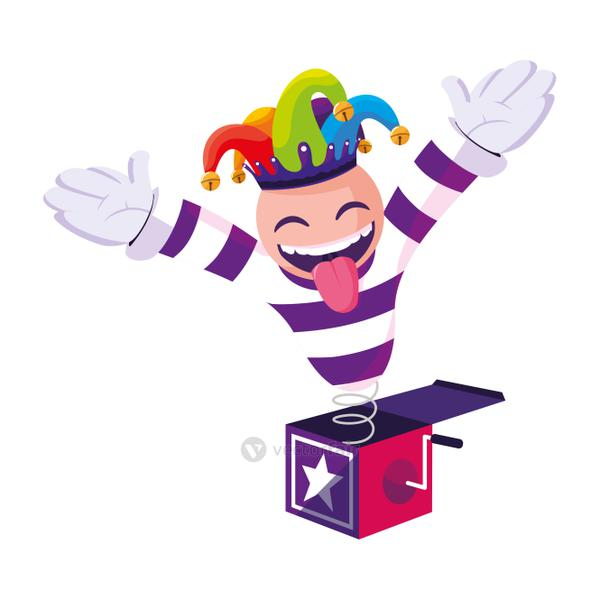 crazy emoticon with joker hat in surprise box