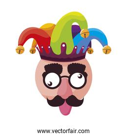 crazy emoticon with joker hat and face accessories