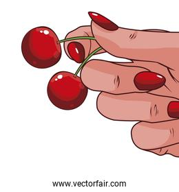 hand with cherry pop art style icon