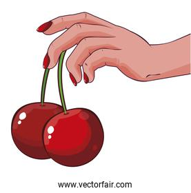 female hand with cherry pop art style icon