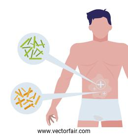 body man with bacterias infographics character
