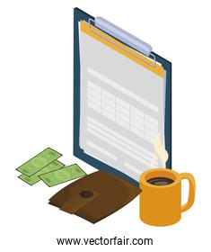 checklist clipboard with coffee cup and money
