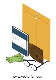 manila envelope with office icons