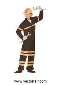 industrial worker with tools avatar character