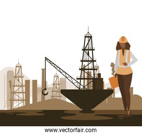 oil industry female worker character