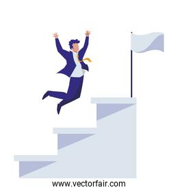 elegant businessman celebrating in stairs with flag