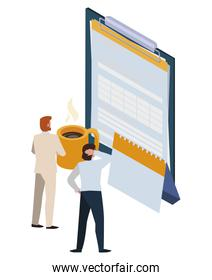 mini business people with clipboard and set office icons
