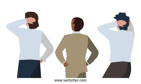 elegant businessmen with back possition characters