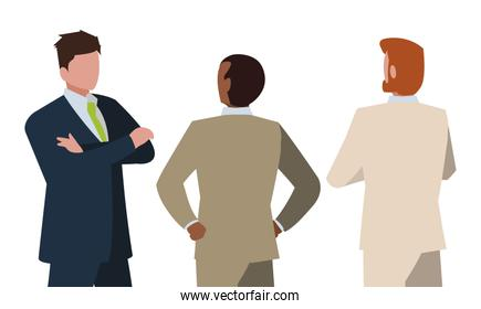 elegant businessmen with different possitions characters