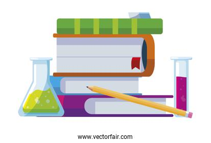 pile text books with tube test and supplies