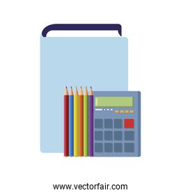 text book with calculator and colors pencils