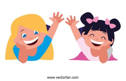 happy little girls characters