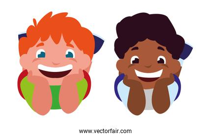 happy little interracial boys characters