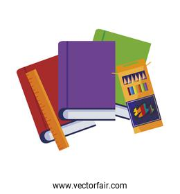 pile text books with rule and colors pencils box