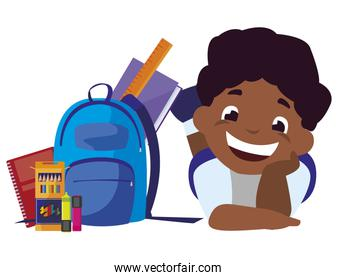 happy boy afro student with school bag and supplies