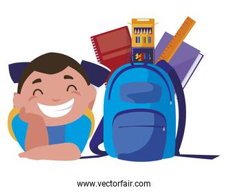 happy little schoolboy with schoolbag and supplies