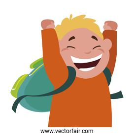 happy little schoolboy with schoolbag character
