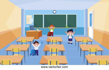 happy little schoolboys in the classroom