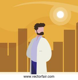 medical doctor professional character vector ilustration