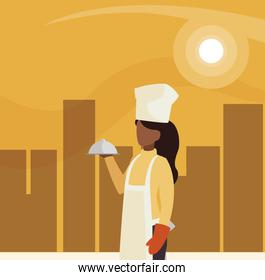 chef female worker avatar character