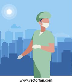 surgeon doctor professional character vector ilustration