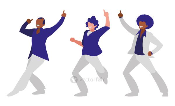 interracial dancers group disco style characters