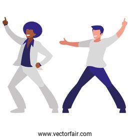 interracial dancers couple disco style characters