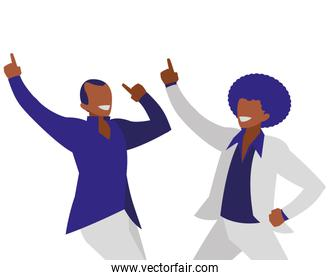 young black dancers couple disco style characters