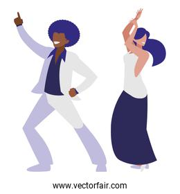 young interracial couple dancing characters